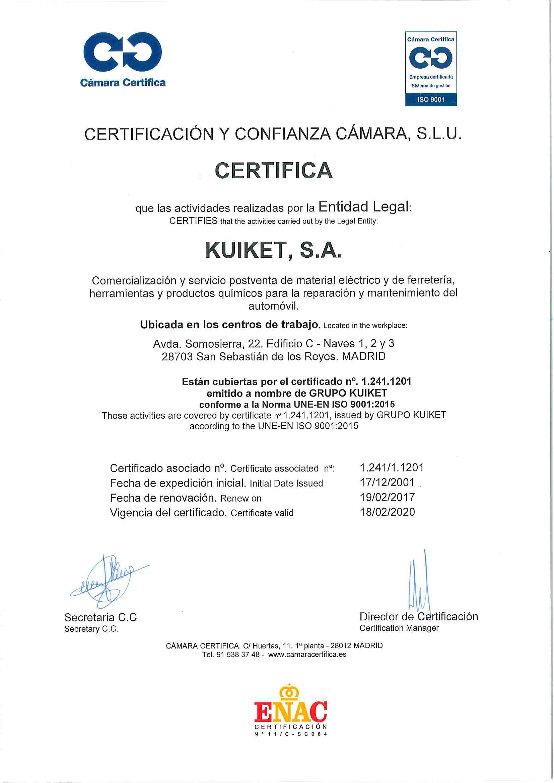 Certificado de Calidad Kuiket UNE-EN ISO 9001:2015