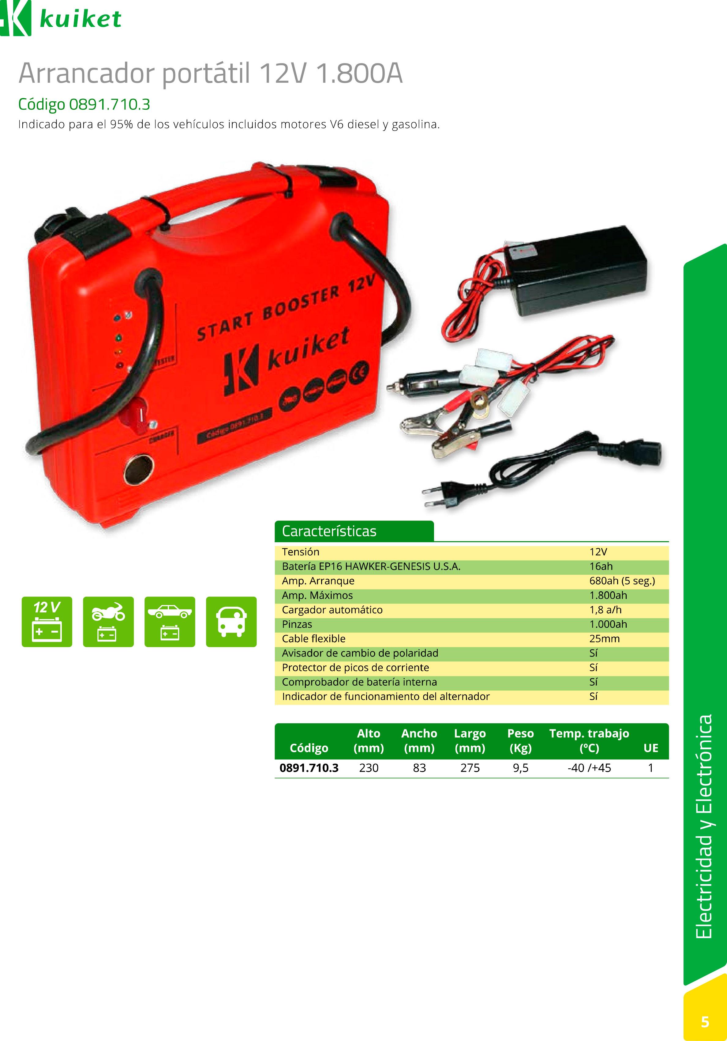 Arrancador Start Booster 12 V 1.800 A - info