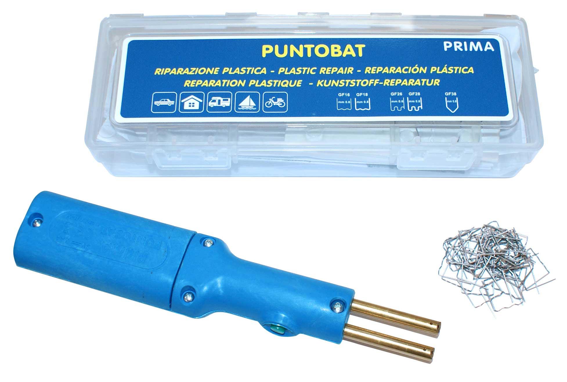 Kit de soldar plasticos con grapas a batería AA con detalle de grapas