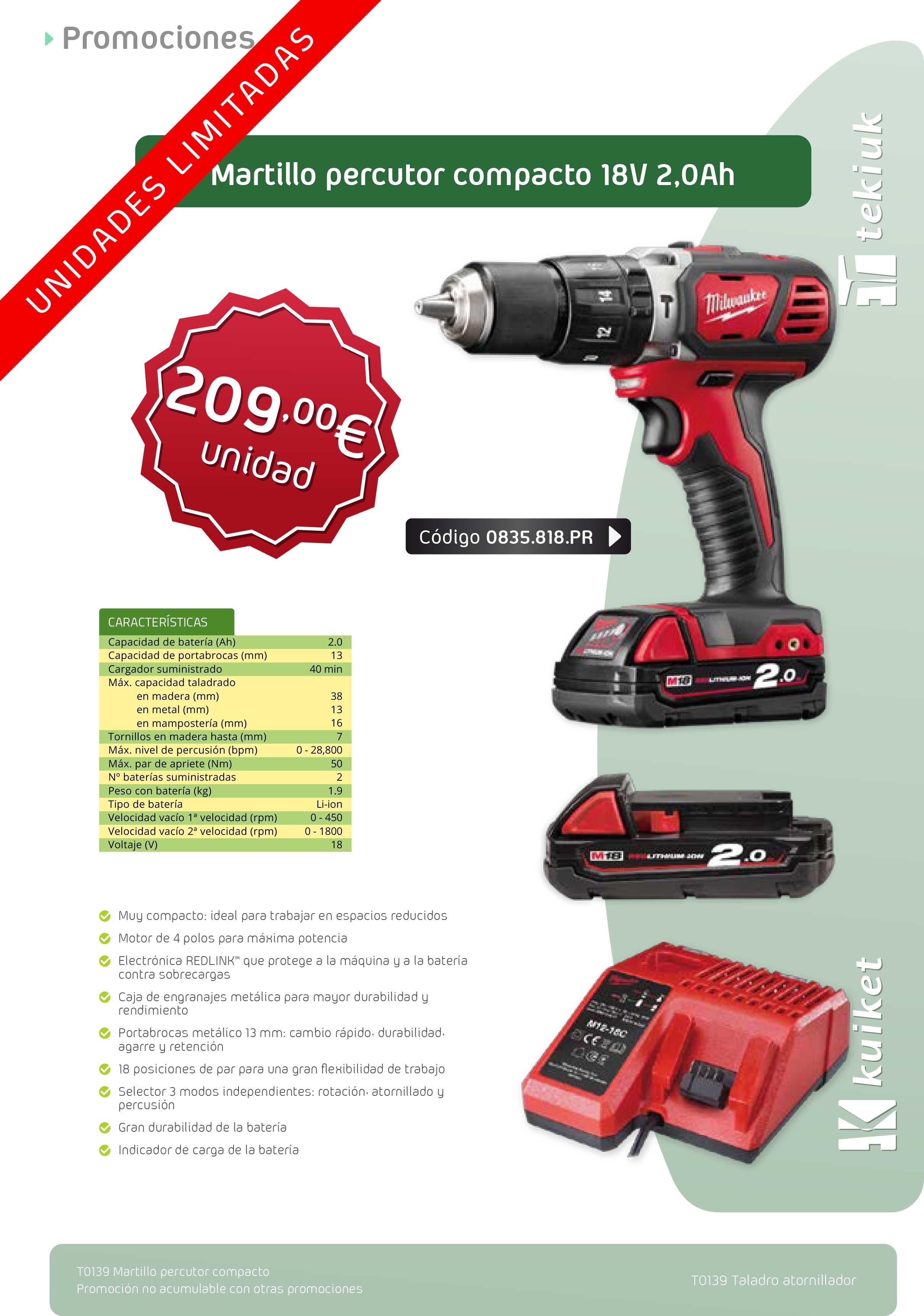 T0139 - Martillo percutor batería 18V 2,0 Ah